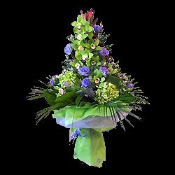 Букет из орхидей, гортензий, лизиантусов