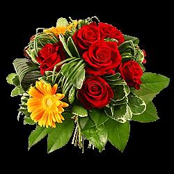 Букет из роз и гербер, украшенный берграсом
