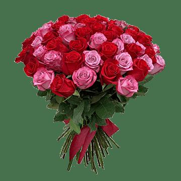Букет из красных и розовых роз