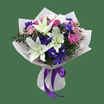 Букет из роз, лилий, альстромерий
