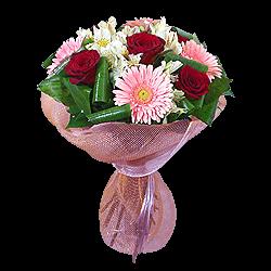 Букет из роз, гербер и альстромерий