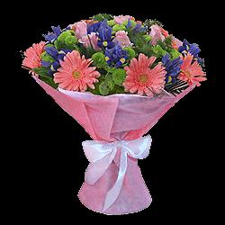 Букет из гербер, роз, ирисов украшенный зеленью