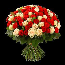 Букет из кремовых и красных роз