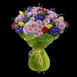 Букет из хризантем, ирисов, роз
