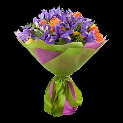 Букет из тюльпанов, ирисов, альстромерий