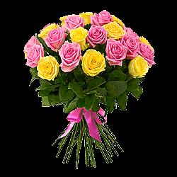 Букет из желтых и розовых роз