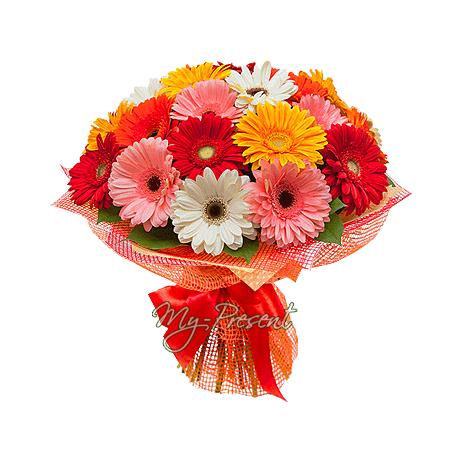 Букет из разноцветных гербер в Краснодаре
