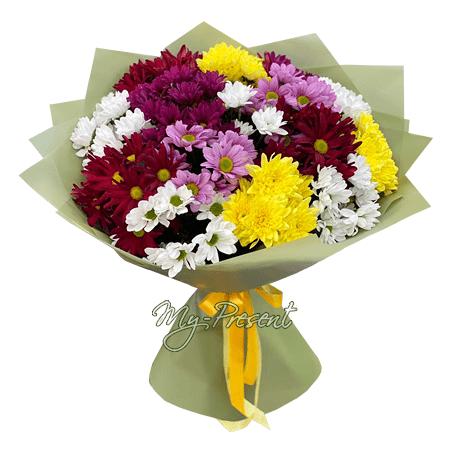 Букет из разноцветных хризантем в Минске
