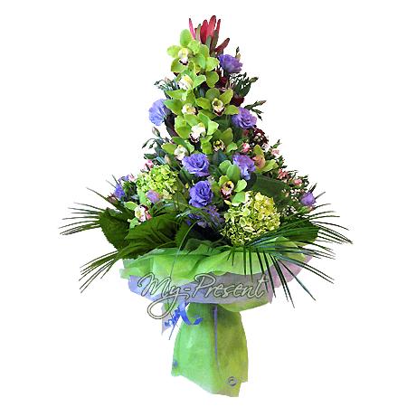 Букет из орхидей, гортензий, лизиантусов в Красноярске