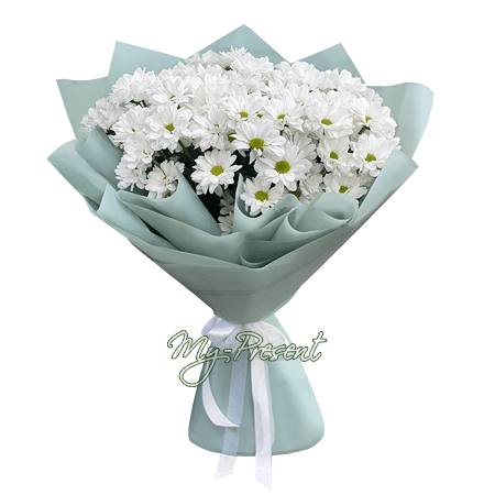 Букет из белых ромашковых хризантем в Челябинске