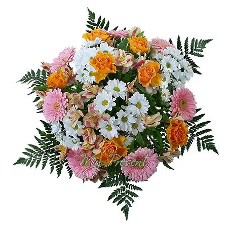 Букет из гербер, роз, хризантем