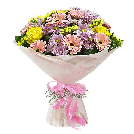 Букет из роз, гербер и хризантем