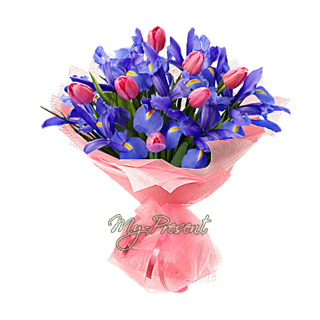 Букет из ирисов и тюльпанов в Томске