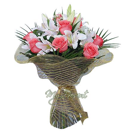 Букет из лилий и роз в Омске