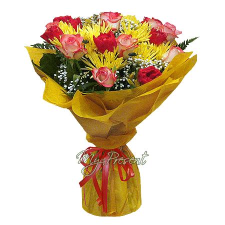 Букет из роз, тюльпанов, хризантем