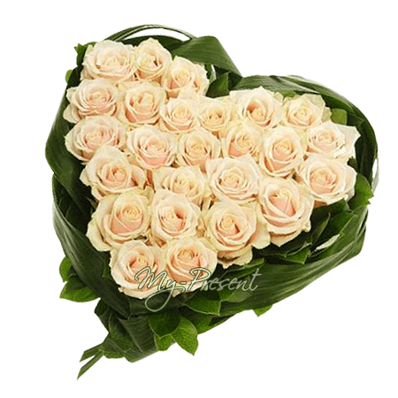 Сердце из белых роз в Краснодаре