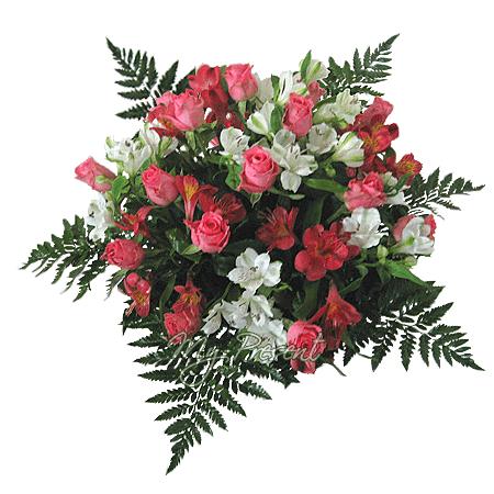 Букет из роз и альстромерий в Лондоне