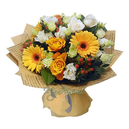 Букет из роз и гербер в Владивостоке