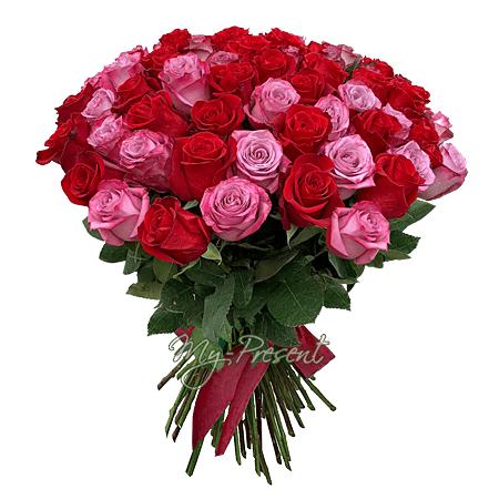 Букет из красных и розовых роз (60 см) в Ялте