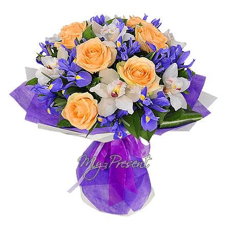 Букет из роз, орхидей и ирисов