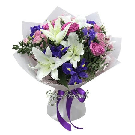 Букет из роз, лилий, альстромерий в Казани