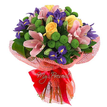Букет из лилий, роз, хризантем