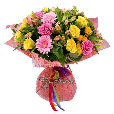 Букет из роз, альстромерий, гербер в Амстердаме
