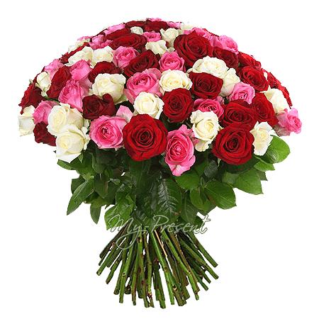 Букет из разноцветных роз (50 см)