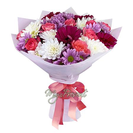 Букет из лилий, роз, гербер и хризантем
