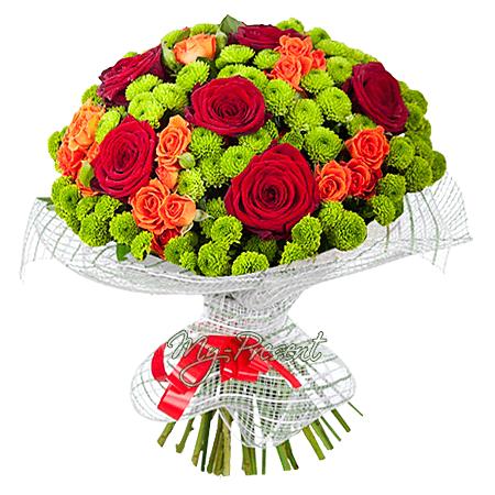 Букет из роз и хризантем в Нижнем Новгороде