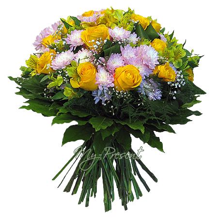 Букет из роз, альстромерий, хризантем
