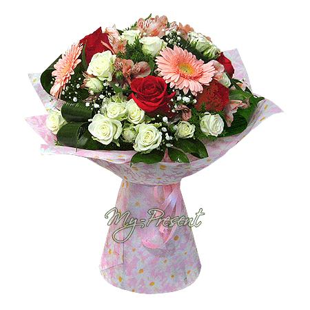 Букет из роз, альстромерий, гербер в Ялте