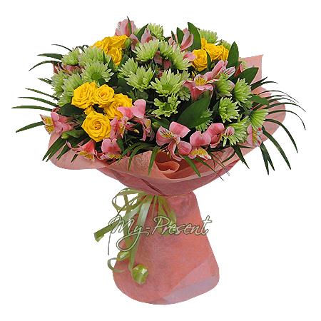 Букет из роз, хризантем, альстромерий в Лондоне