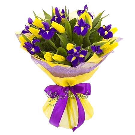 Букет из тюльпанов и ирисов в Владивостоке