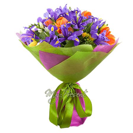 Букет из тюльпанов, ирисов, альстромерий в Кишиневе