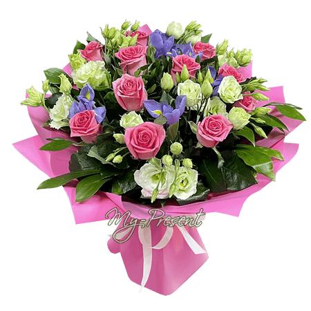 Букет из роз, лизиантусов и ирисов