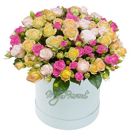 Розы в шляпной коробке в Челябинске