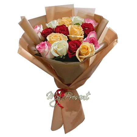 Букет из разноцветных роз (80 см) в Тюмени