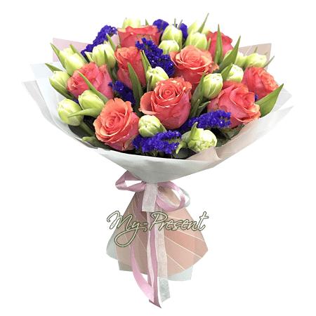 Букет из роз, тюльпанов и лимониума