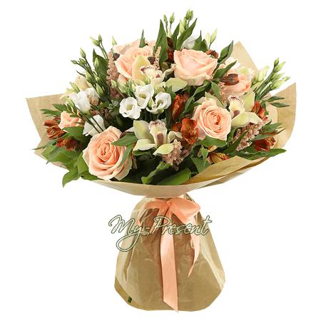 Букет из роз, орхидей, лизиантусов в Ростове-на-Дону