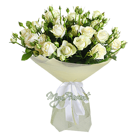 Букет из кустовых белых роз в Киеве