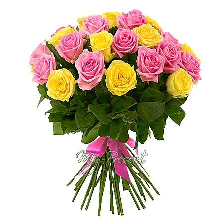 Букет из желтых и розовых роз (60 см) в Ялте