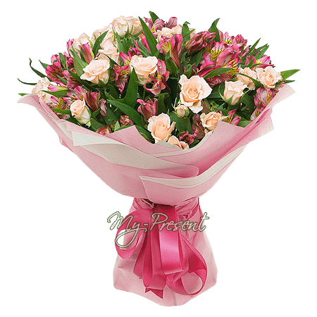 Букет из кустовых роз и альстромерии в Нижнем Новгороде