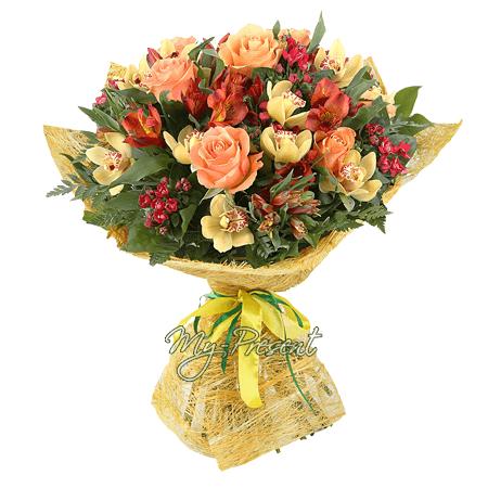 Букет из роз, орхидей и альстромерий