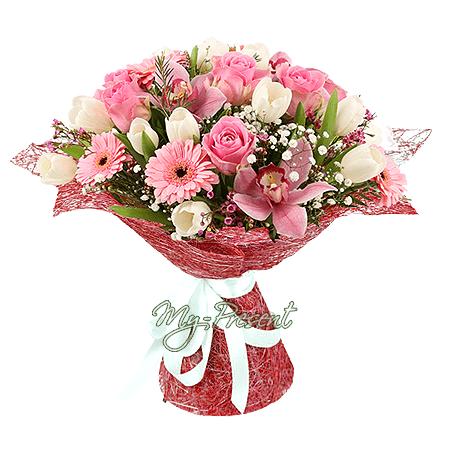 Букет из роз, тюльпанов, орхидей и гербер