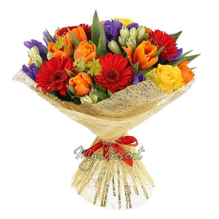 Букет из тюльпанов, гербер, альстромерий и ирисов в Ялте
