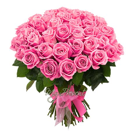 Букет из розовых роз (50 см.)