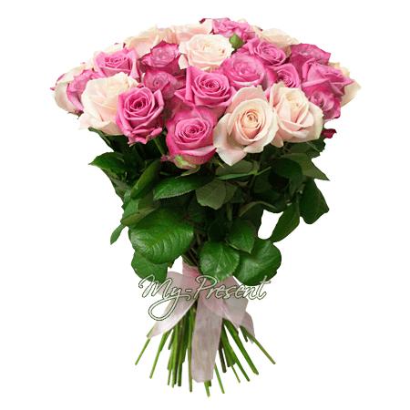 Букет из сиреневых и розовых роз (80 см) в Томске