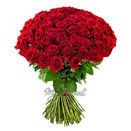 Букет красных роз (80 см.) перевязанный лентой