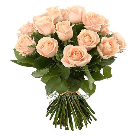 Букет розовых роз (50 см.) перевязанный лентой